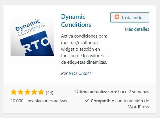 Plugin Dynamic Conditions para Elementor